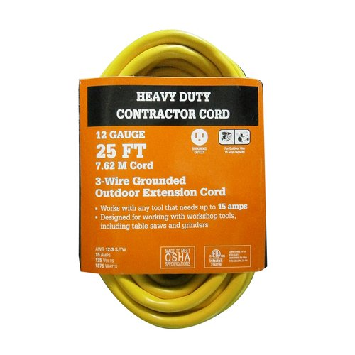 WorkChoice 25' 12/3 Heavy-Duty Contractor Extension Cord, Yellow
