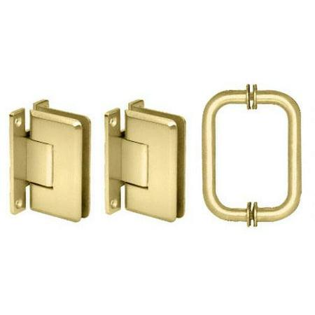 CRL Polished Brass Cologne 037 Hinge and Shower Pull Handle Set