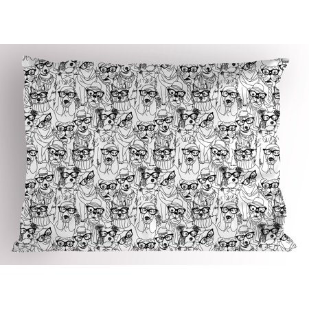Dog Pillow Sham Cute Monochrome Trace Sketch Pugs Bulldog Terrier with Glasses and Hats Hipster Attire, Decorative Standard Queen Size Printed Pillowcase, 30 X 20 Inches, Black White, by Ambesonne