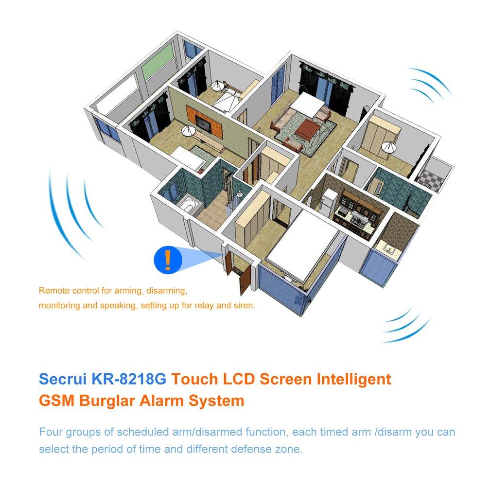 Secrui Kr 8218g Touch Lcd Screen Intelligent Gsm Burglar Alarm System Circuit Diagram Using