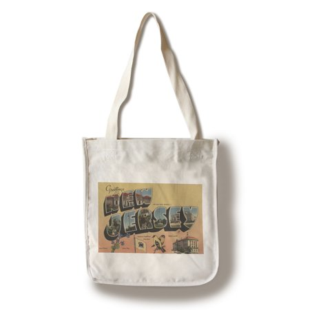 Greetings from New Jersey (State Capital/Flower/Bird) (100% Cotton Tote Bag - (New Jersey State Bird Flower)