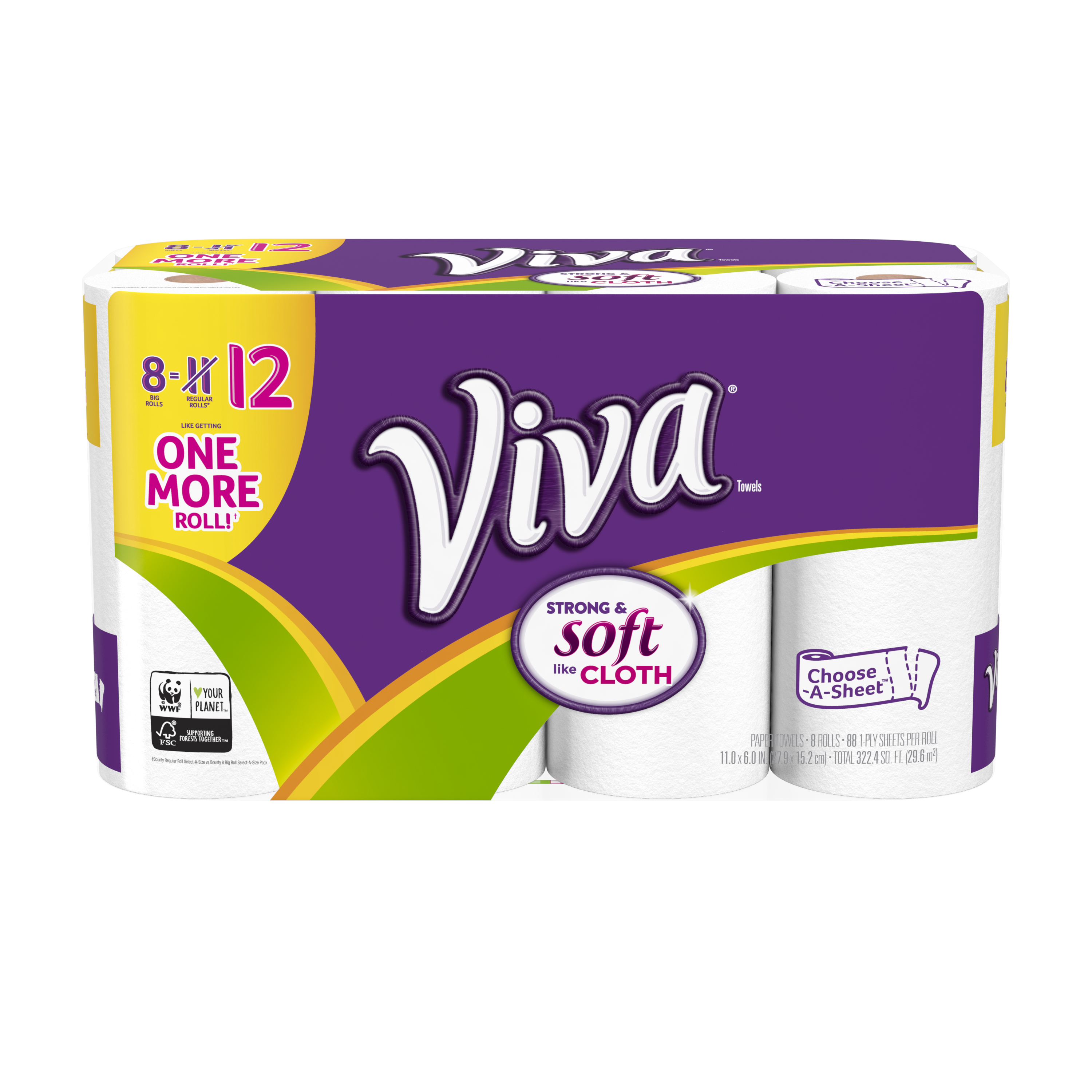 Viva Paper Towels, Choose-A-Sheet, 8 Big Rolls