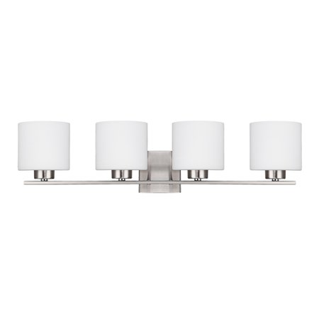 Capital Lighting Steele - Four Light Bath Vanity, Brushed Nickel Finish with Soft White Glass ()
