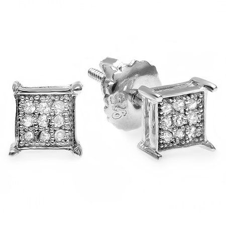 Dazzlingrock Collection 0.10 Carat (ctw) 10K Round Diamond Square Shape Mens Hip Hop Iced Stud Earrings 1/10 CT, White Gold