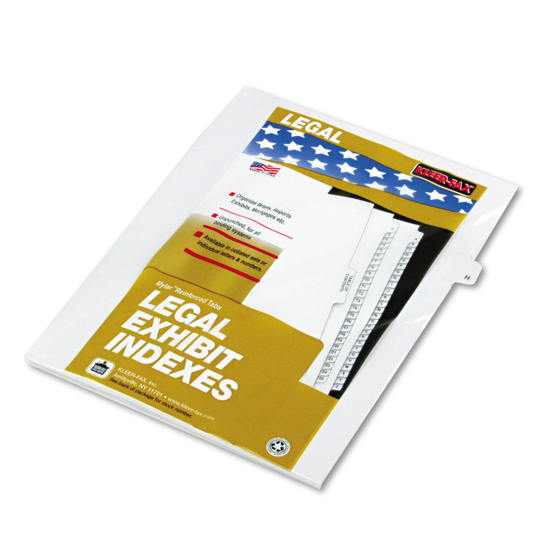 "80000 Series Legal Exhibit Index Dividers, 1/26 Cut Tab, ""H"", White, 25/Pack"