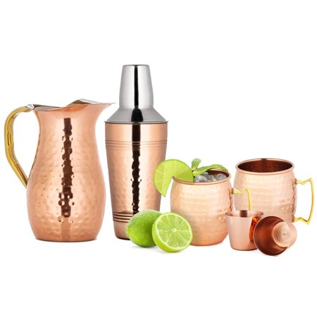 Chef's Star 6 Piece Copper Bar Tools Set - (2x) 18oz Moscow Mule Mugs - 2 Shot Glasses - 25.3 oz Shaker - 50.7 oz