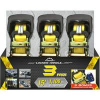 "Everest 1.5"" x 15' Locking Handle Ratchet Tie Down/Anti-Theft Ver 2, 3-Pack"