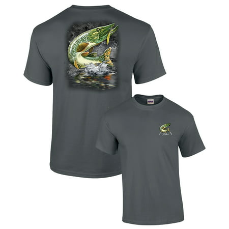 Fishing T-shirt Pike Jumping After Lure 2 Sides