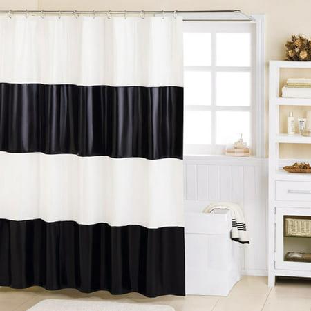 Mainstays Grand Stripe PEVA Shower Curtain Black And White