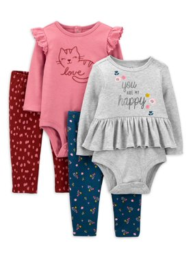 Child of Mine By Carter's Baby Girl Peplum Bodysuit & Pants, 4pc Multi-pack