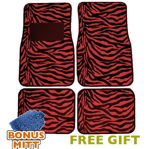 A Set of 4 Universal Fit Animal Print Carpet Floor Mats for Cars   Truck Red Zebra Stripes & Bonus Detailing... by LavoHome
