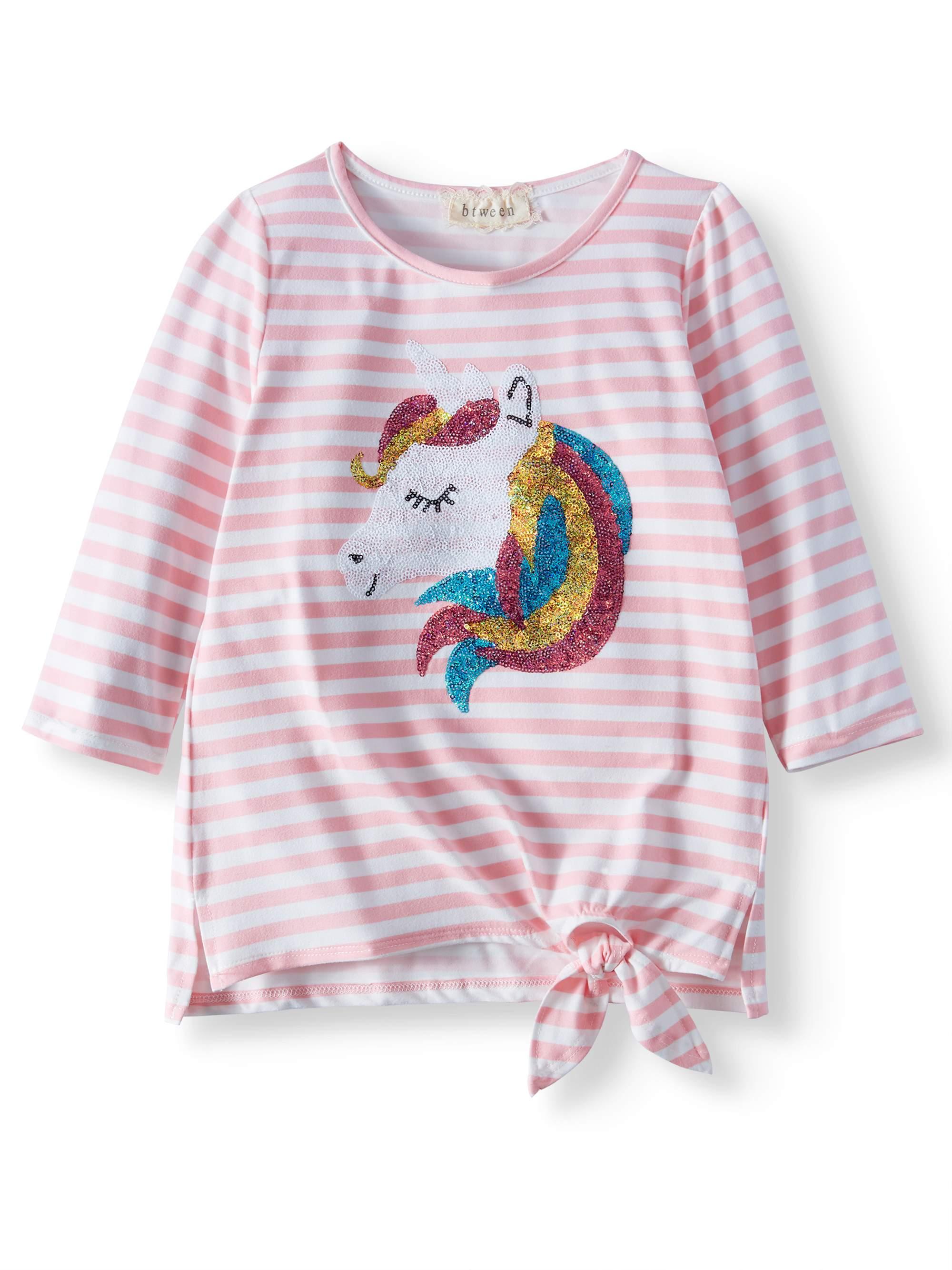 Sequin Unicorn Striped Side-Tie Long Sleeve Shirt (Little Girls & Big Girls)