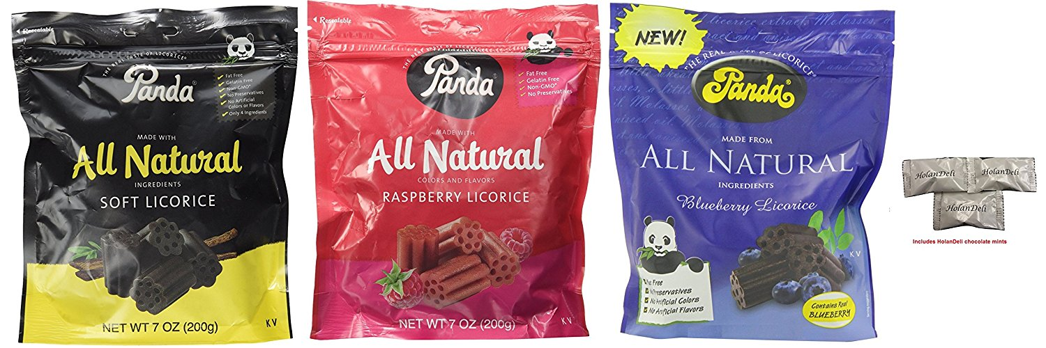 Assorted Panda All Natural Licorice (Soft Licorice, Raspberry, Blueberry) 7oz. Includes... by