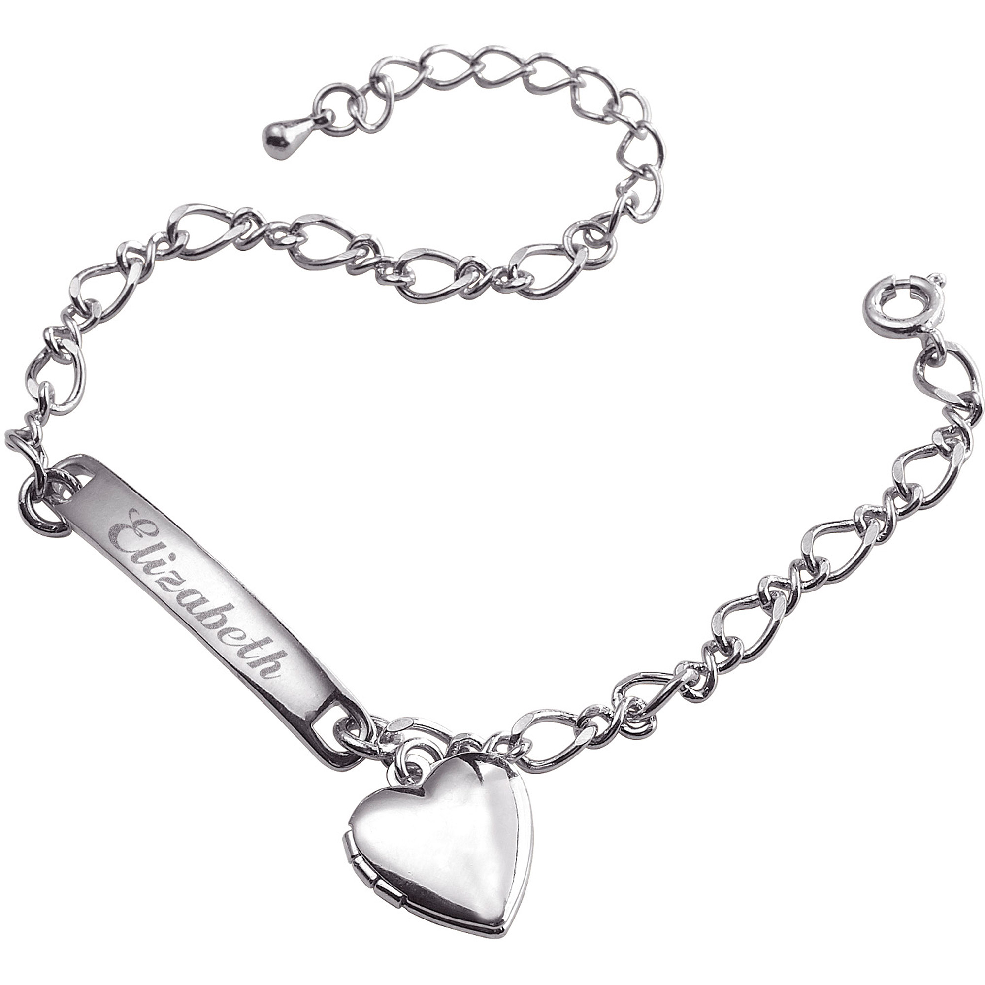 Personalized Silver-Plated Girls' Heart Charm Bracelet