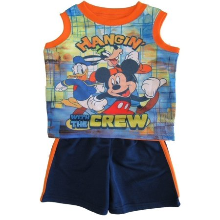 Disney Little Boys Navy Mickey Mouse Sleeveless Tank Top Shorts Set](Disney Boys Clothes)