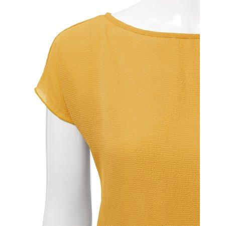 436d047839e Doublju - Doublju Short Sleeve Loose Fit Crepe Peplum Blouse For Women With Plus  Size MUSTARD XL - Walmart.com