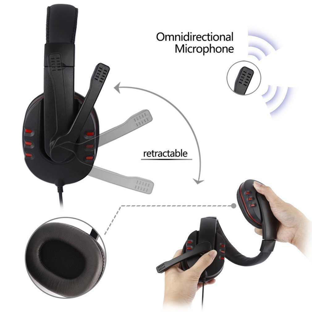 Black Plastic & Leather Adjustable Volume Control USB Wired Stereo Micphone Headphone Mic Headset for Sony for PS3 PC Game