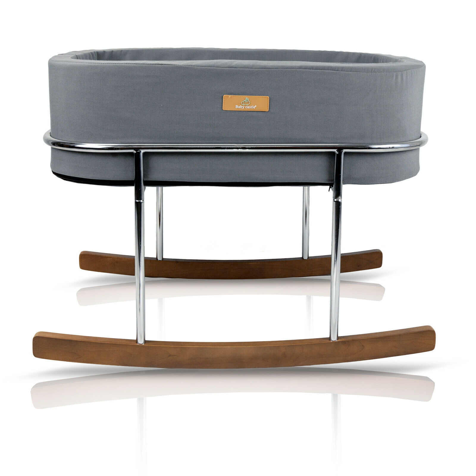 Rocking Baby Bassinet with Chrome Legs Walnut Wood Rocking Feet and Mattress by Baby Castle
