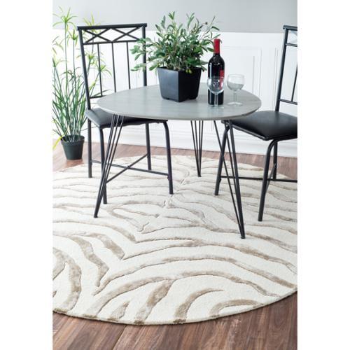 nuLOOM Handmade Animal Pattern Grey/Ivory Zebra Wool/ Viscose Rug (6' Round)