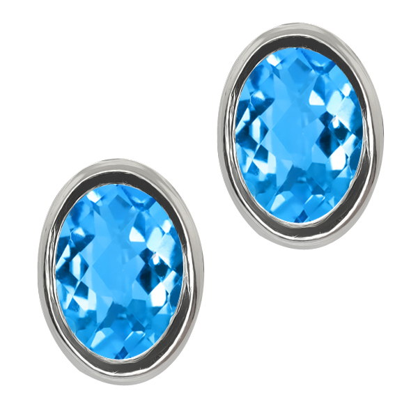 1.90 Ct Oval Checkerboard Shape Swiss Blue Topaz Sterling Silver Stud Earrings