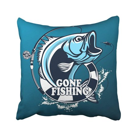 WOPOP Black Animal Fishing Bass Fish With Rod Club Emblem White Aquatic Camping Catch Fin Jump Pillowcase Pillow Cover 18x18 inches - Lure Club Halloween