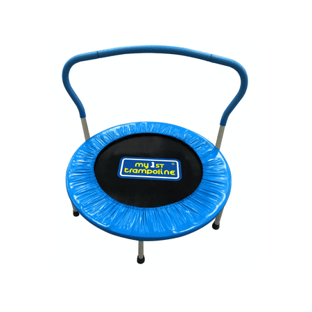 My First Trampoline Mini Trampoline with Handle Bar, 36 in (Blue)