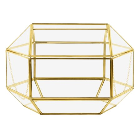 Koyal Wholesale Geometric Glass Wedding Card Box, Gold Wedding Reception Drop Box, Terrarium Glass Planter