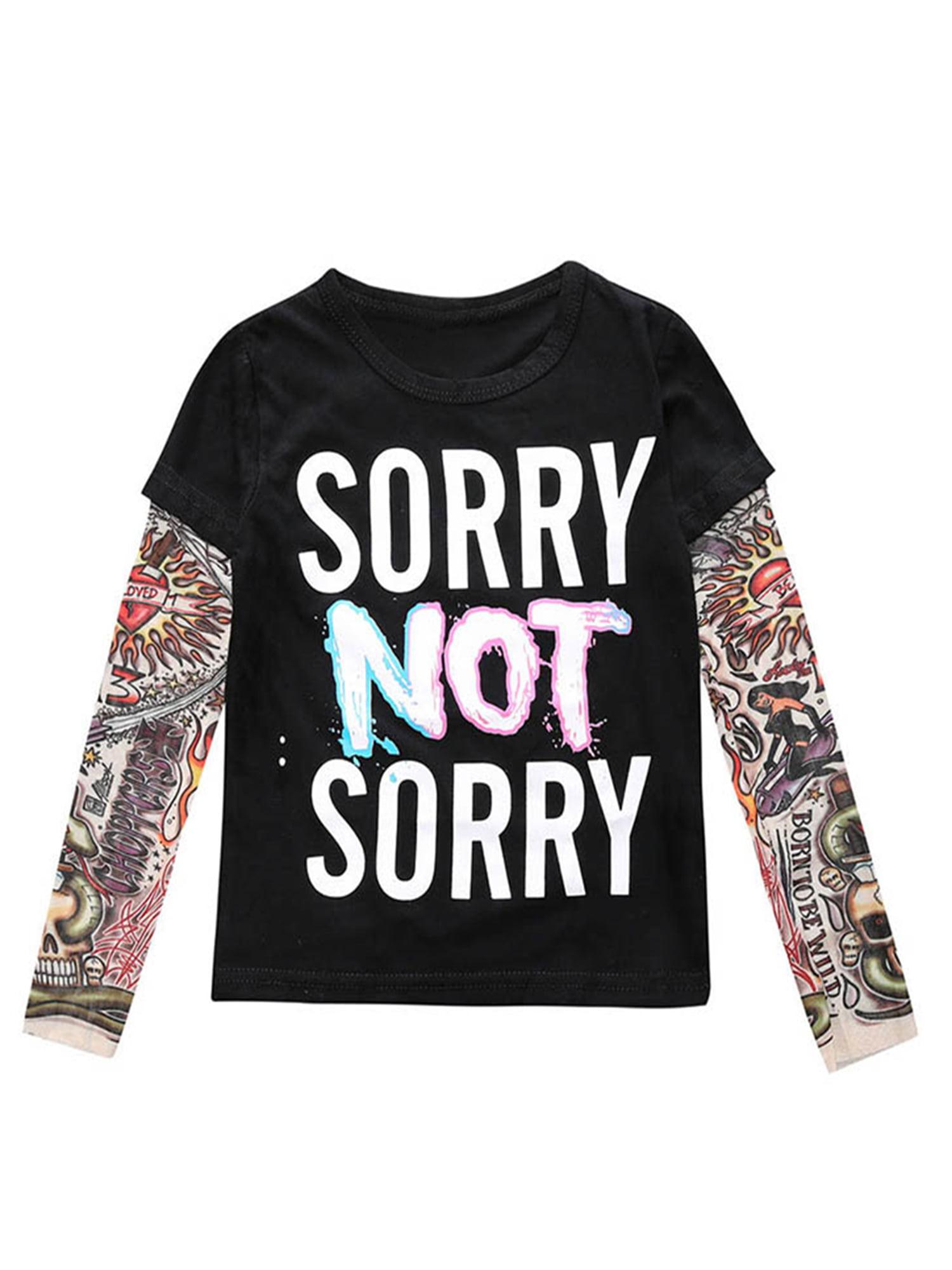 Stylesilove Stylesilove Super Cool Unisex Kid Cotton T Shirt Withk Mesh Tattoo Sleeve 100 3t Sorry Not Sorry Walmart Com Walmart Com