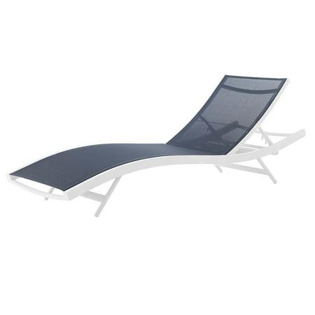 Modern Contemporary Urban Design Outdoor Patio Balcony Garden Furniture Lounge Chair Chaise, Fabric Aluminium, White Navy ()