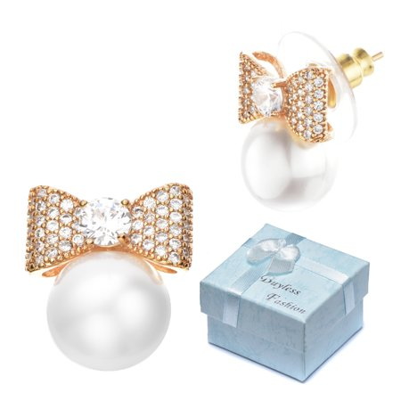 Buyless Fashion Girls Bow Pearl Stud Earrings Surgical Stainless Steel Gift Box (Girl With A Pearl Earring)