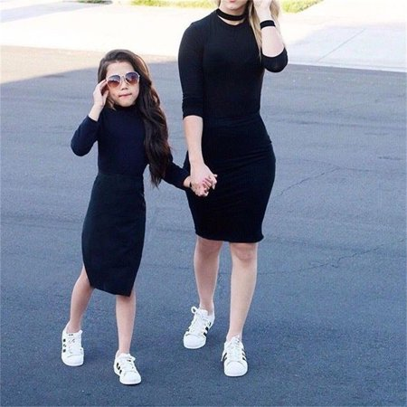 Family Matching Outfit Mother&Daughter Clothes Baby Girl Black Tops Casual Skirt