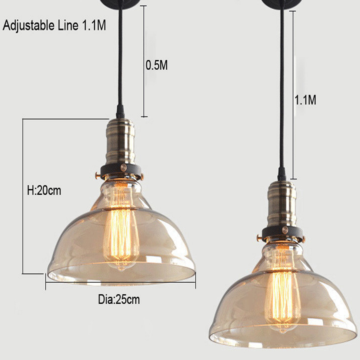 90-260V E27 40W Retro Vintage Industrial Pendant Light Ceiling Chandelier Glass Fixture Lamp Decor For Kitchen Living Room Coffee Shop Restaurant