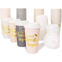 48-Pack Insulated Coffee Cups with Lids Disposable, Gold Foil Print, New Adventure Themed (16 oz each)