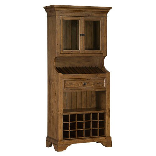 Hillsdale Tuscan Retreat Tall Slanted Wine Rack with 2 Glass Doors on Top and Bottom Wine Cubby