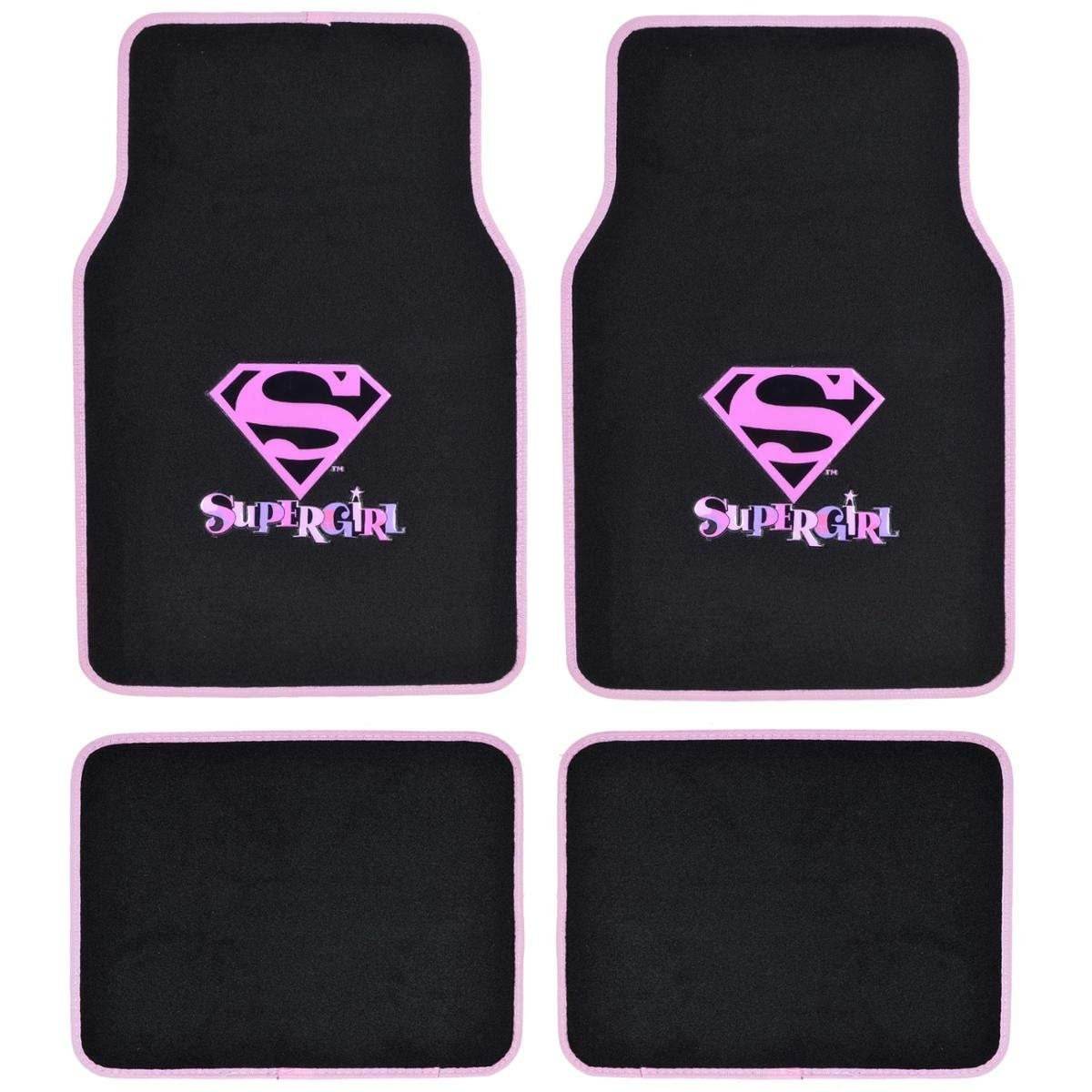 Supergirl DC Comics Logo Front & Rear Seat Car Truck SUV Carpet Floor Mats - 4PC