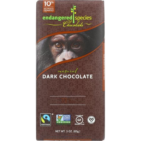 Endangered Species Chimp  Natural Dark Chocolate  72  Cocoa   3 Oz Bars  Pack Of 12