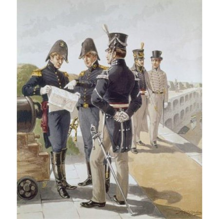 Posterazzi SAL900104994 Regimental Officers. Engineer Cadet 1821-32 Ogden Henry Alexander 1856-1936 American Poster Print - 18 x 24 in. (Engineer Regimental Crest)