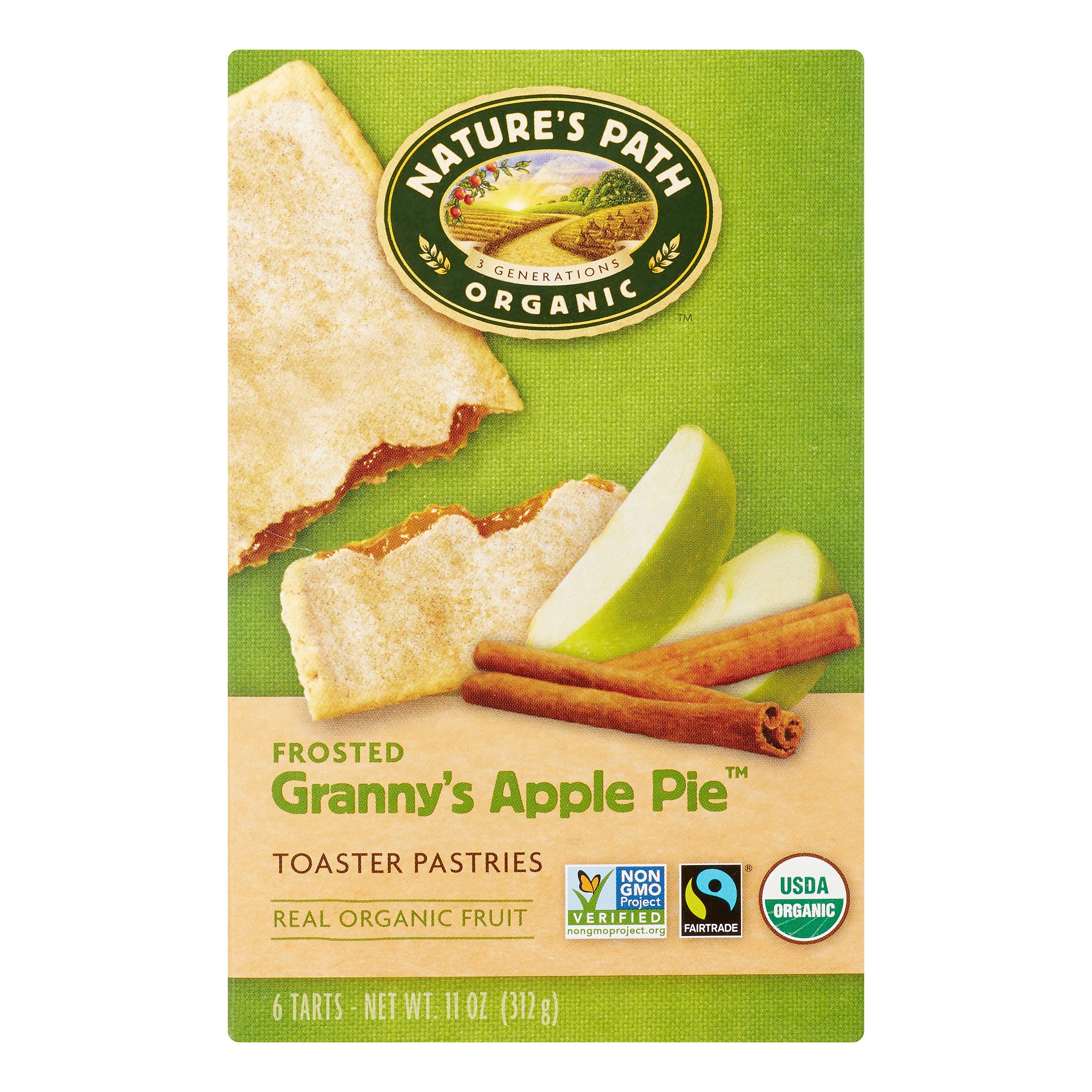 Natures Path Toaster Pastries, Frosted Granny Apple Pie, 1.83 Oz, 6 Count