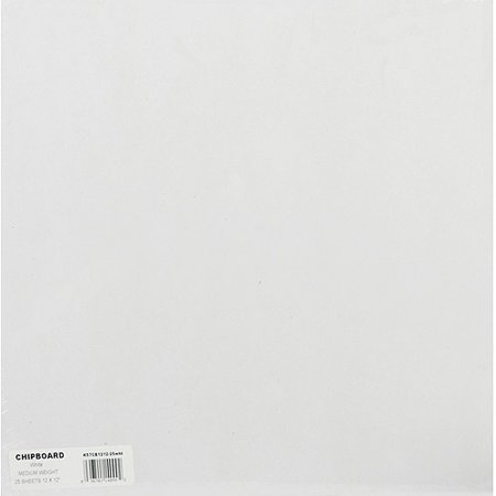 "Grafix Medium Weight Chipboard Sheets 12"" x 12"", White 25/Pkg"