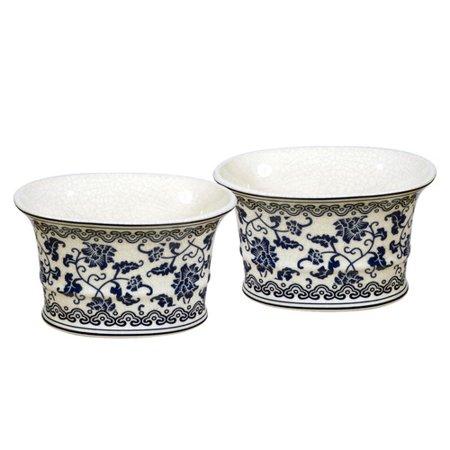 Winward designs fleur bleu oval pot planter set of 2 - Fleur a planter ...