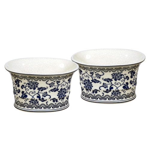 Winward Designs Fleur Bleu Oval Pot Planter (Set of 2)