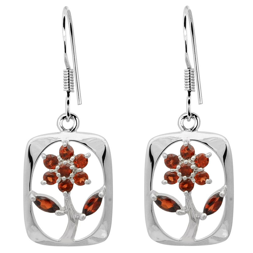 Orchid Jewelry Mfg Inc Orchid Jewelry 925 Sterling Silver 1 Carat Garnet Floral Earrings