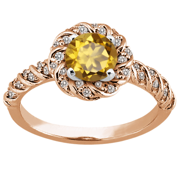 1.68 Ct Round Champagne Quartz 925 Rose Gold Plated Silver Ring