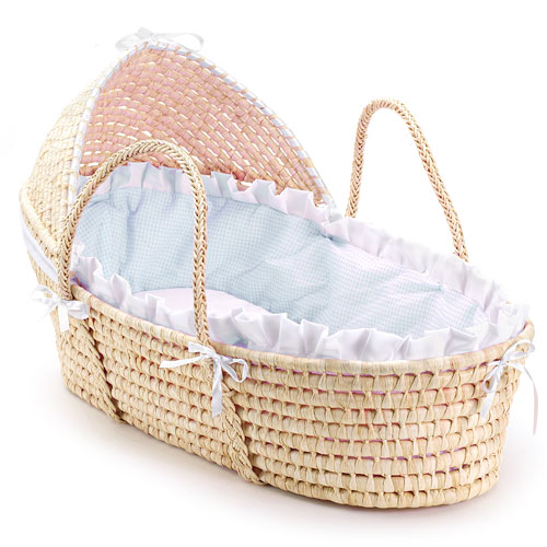 Badger Basket Moses Basket with Hood, Blue Gingham