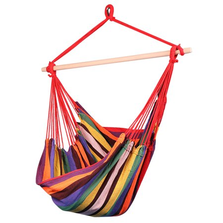 Brazilian Hammock Chair, Cotton Weave Porch Swing, Soft & Durable Canvas with Wood Spreader Bar for Trekking Camping Hiking Backyard Patio Outdoor Indoor - Tropic Red
