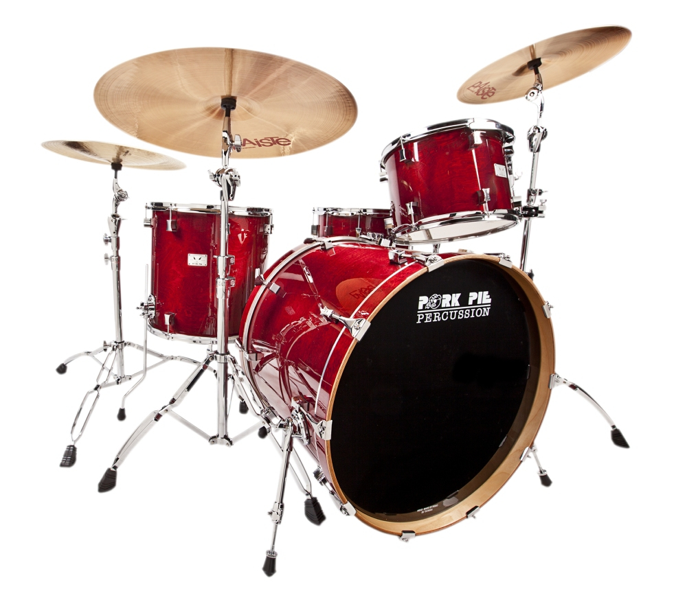 """Pork Pie Little Squealer 4-Piece Shell Pack with 24"""" Bass Drum Black Cherry Lacquer by Pork Pie"""