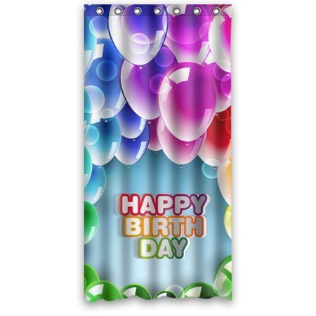 MOHome Happy Birthday Shower Curtain Waterproof Polyester Fabric Size 36x72 Inches