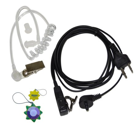 HQRP 2 Pin Acoustic Tube Earpiece Headset Mic for ICOM IC-02A, IC-02AT, IC-02E, IC-02N + HQRP UV Meter