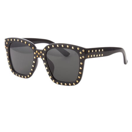 Celebrity Style Cat Eye Wayfare Stud Lady Gaga Sunglasses Black Gold Designer (Celeb Sunglasses)