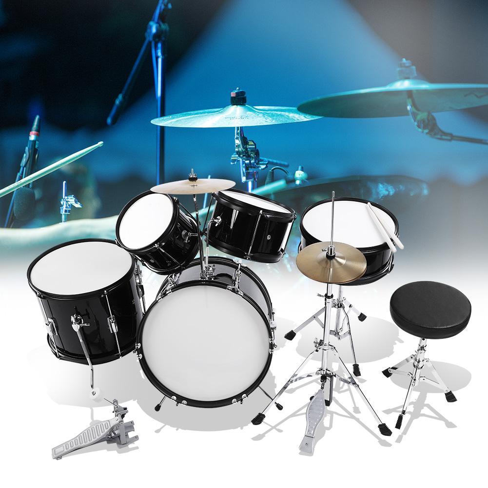 Fdit 5pieces Junior Children Drum Kit Stool Drumsticks Pedal